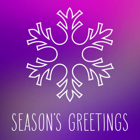 seasons greetings: Fiocco di neve bianca sulla piazza astratto liscio sfocatura dello sfondo con saluti scritti a mano della stagione. Vettoriali
