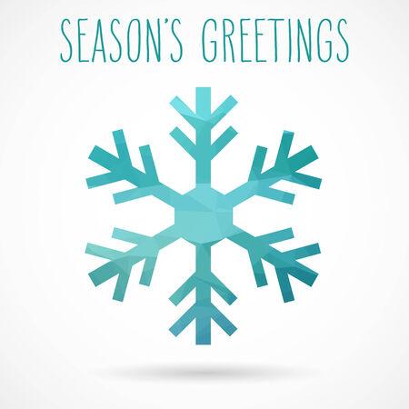 seasons greetings: Colorato astratto fiocco geometrico con ombra cadere e saluti scritti a mano della stagione. Vettoriali