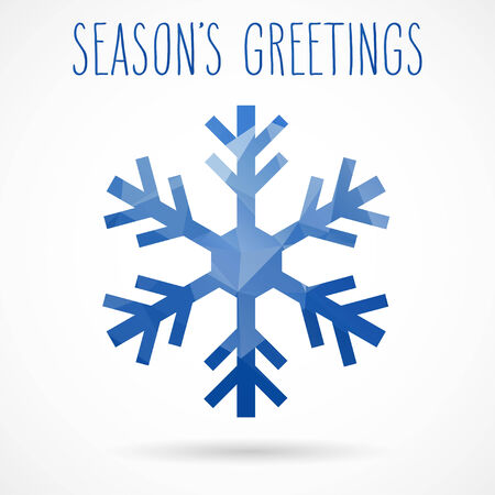 seasons greetings: Colored abstract geometric snowflake with dropped shadow and handwritten seasons greetings.
