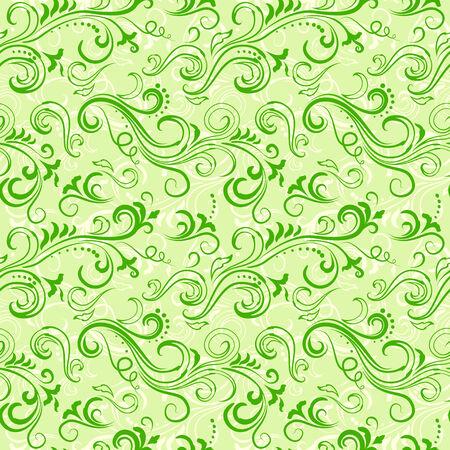 artsy: Light green seamless swirly ornate floral pattern.