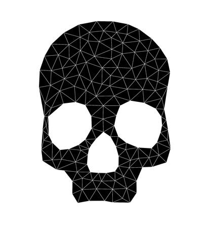 spook: Triangular geometric skull in black over white.