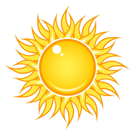 Bright sun icon with flowing rays, isolated on white. Ilustração