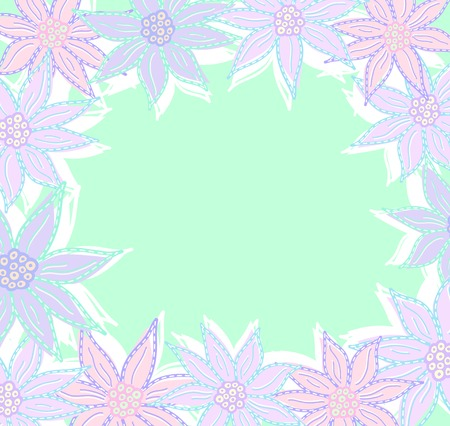 room for text: Pastel flowers frame with room for text. Illustration