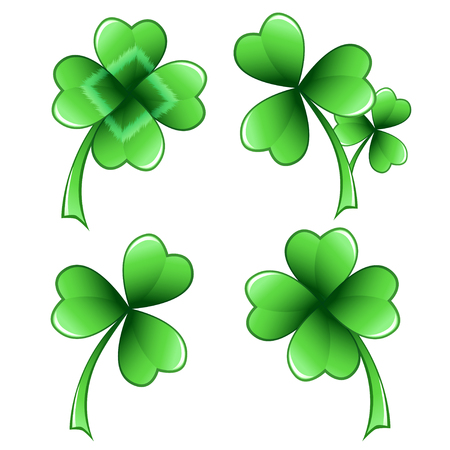 patric icon: Four clover leaves of miscellaneous design, isolated on white.