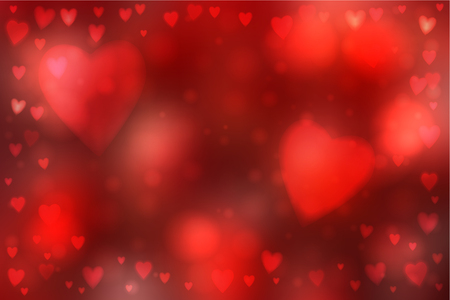 heartshaped: Abstract smooth blur red background with heart-shaped lights over it. Illustration