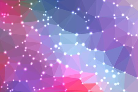 fondo geometrico: Pink and purple abstract geometric background consisting of colored triangles with lights in corners.