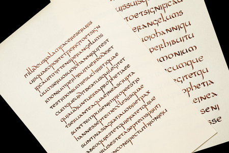 writing western: Calligraphy exercises - handwritten excerpt from the Holy Bible.