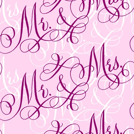 Pink wedding seamless pattern with hand-written traditional words Mr. and Mrs. Illustration