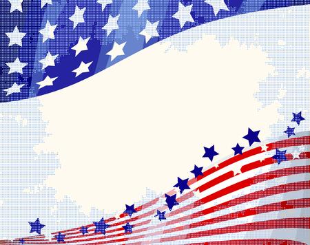 American flag patriotic flowing background, Independence day. 矢量图像