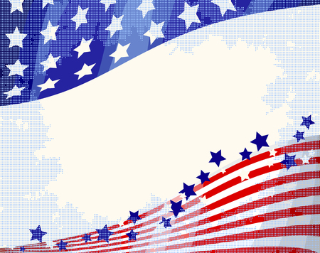 American flag patriotic flowing background, Independence day. Illustration