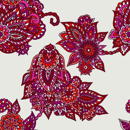 Red and orange floral dooles seamless pattern. Vector