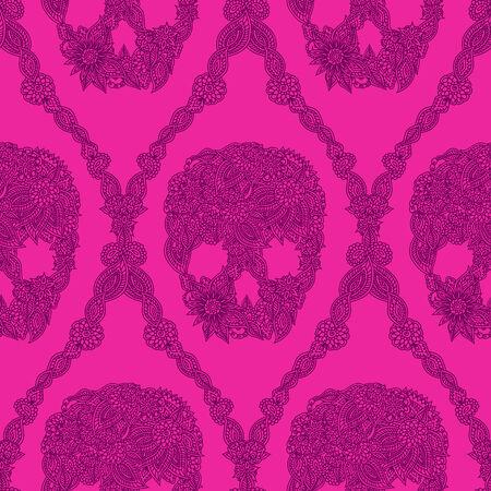 Doodle floral skulls damask seamless pattern in pink. Vector