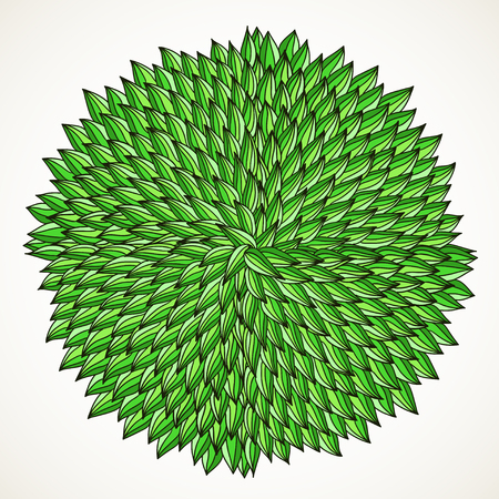 Hand-drawn green leaves in circle, isolated on white.