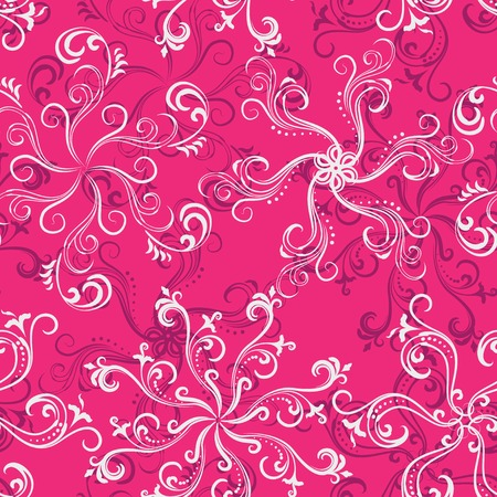 Seamless swirly floral pattern in hot pink. 矢量图像