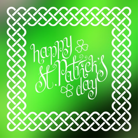 hand knot: Hand written St. Patricks day greetings in traditional style braided knot celtic frame over square abstract smooth blur background.