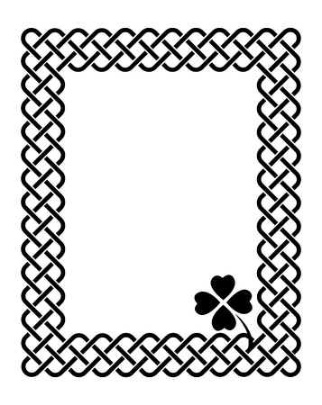 keltic: Traditional celtic style braided knot frame with a shamrock leaf, black isolated on white.