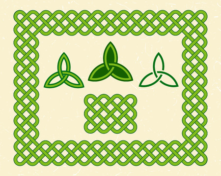 triquetra: Traditional green celtic style braided frame and knots over textured vintage background.