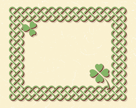 Traditional green celtic style braided knot frame and shamrock leaves over textured vintage background. Illustration
