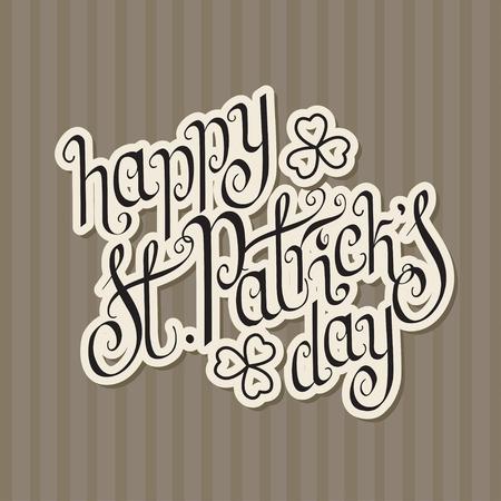 Paper cut hand written St. Patrick Illustration