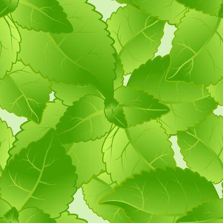 spearmint: Mint leaves seamless pattern.