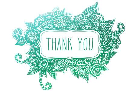 merci: Color� cadre doodle floral orn� isol� sur blanc avec les mots dessin�s � la main �merci� sur elle.