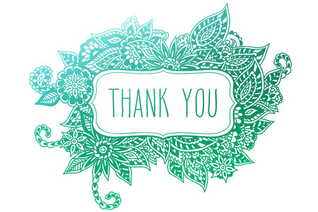 Colored ornate floral doodle frame isolated on white with hand drawn words 'thank you' on it.