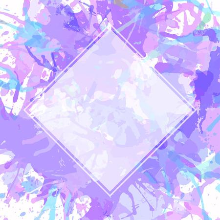 morado: Plantilla con cuadrado blanco semi-transparente sobre pastel salpicaduras de pintura art�stica p�rpura, listo para su texto.