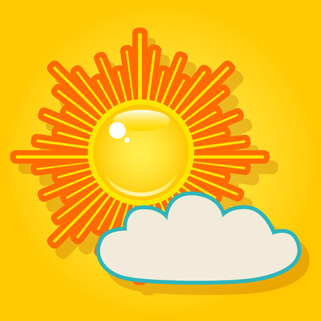 yellow sky: Summer bright shining sun and a cloud on the yellow sky. Illustration