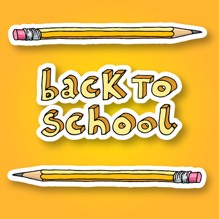 intermediate: Hand drawn doodle Back to School words and two pencils over bright yellow background.