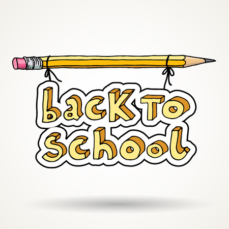 intermediate: Hand drawn doodle Back to School words hanged on a pencil isolated over white background. Illustration
