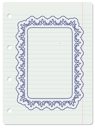 one sheet: One rectangle ornate frame over lined notebook sheet background.