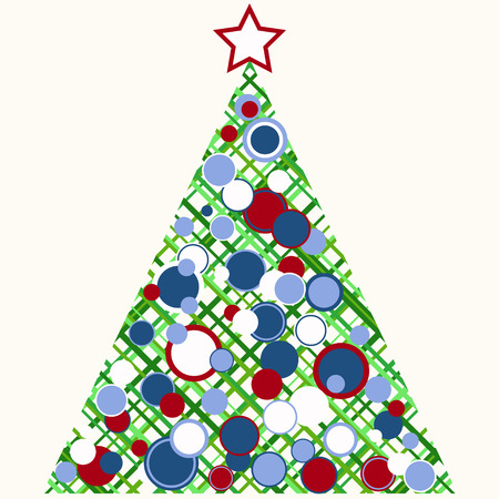 chrismas: Stylized Chrismas tree with scattered ornaments. Illustration