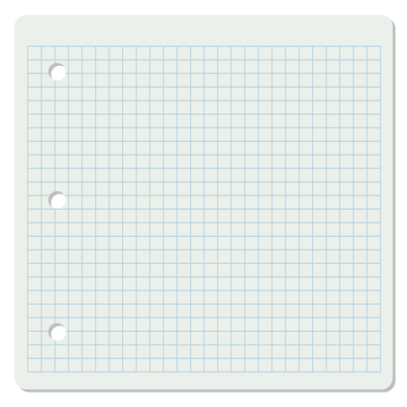 college ruled: Vector illustration of white squared school paper sheet. Illustration