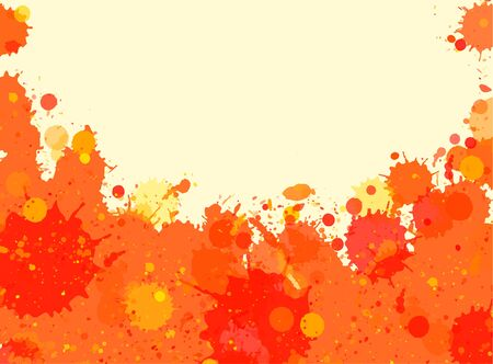 room for text: Vibrant bright orange watercolor artistic splashes frame with room for text, horizontal format.