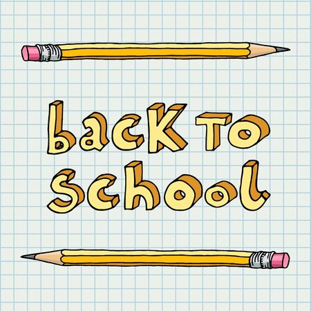 intermediate: Hand drawn doodle Back to School words and two pencils over squared notebook paper.