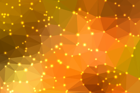 fondo geometrico: Orange abstract geometric background consisting of colored triangles with lights in corners.