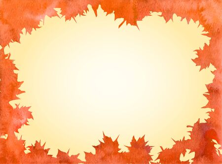 leaves frame: Naranja brillante de arce acuarela del oto�o deja el marco.