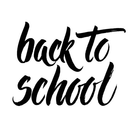 intermediate: Back to school words hand written by brush, black isolated over white.