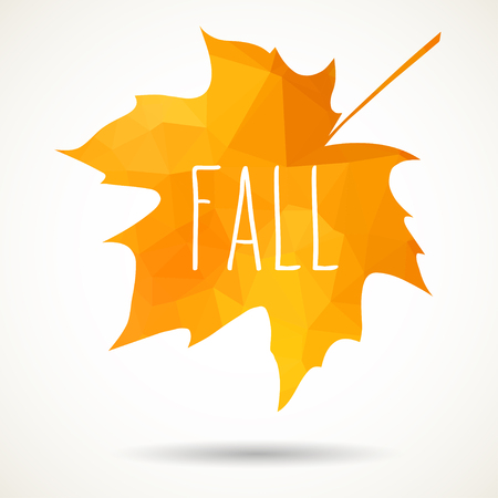 creative arts: Maple leaf in triangular style with hand drawn word Fall.