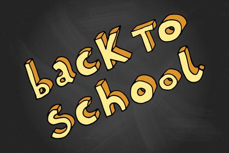 intermediate: Hand drawn doodle Back to School words over black chalkboard. Illustration