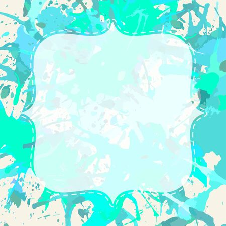 pastel colored: Template with semi-transparent white vintage frame over pastel colored blue and green artistic paint splashes, ready for your text.