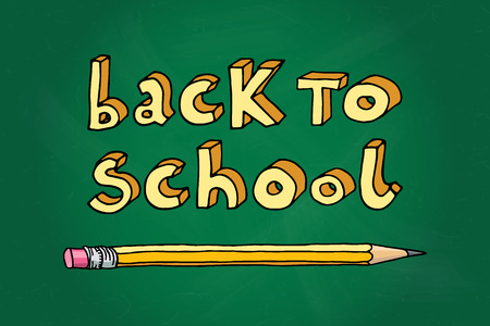 intermediate: Hand drawn doodle Back to School words and a pencil over green chalkboard. Illustration