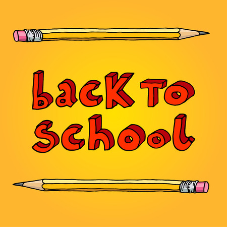 intermediate: Hand drawn doodle Back to School red words and two pencils over yellow background.