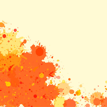 text room: Vibrant bright orange watercolor artistic splashes frame with room for text, square format.
