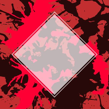 semitransparent: Template with semi-transparent white square over bright red and black artistic paint splashes.