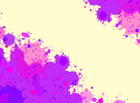 room for text: Vibrant bright purple watercolor artistic splashes frame with room for text, horizontal format.
