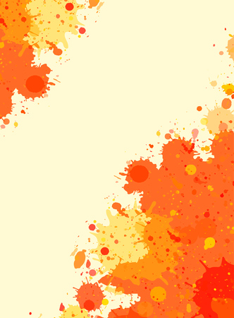 room for text: Vibrant bright orange watercolor artistic splashes vertical frame with room for text.