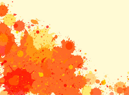 horizontal format: Vibrant bright orange watercolor artistic splashes frame with room for text, horizontal format.