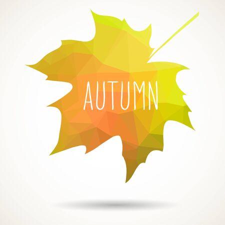 fall leaf: Maple leaf in triangular style with hand drawn word Autumn. Illustration