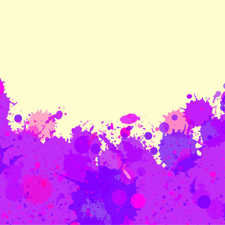 room for text: Vibrant bright purple watercolor artistic splashes frame with room for text, square format.